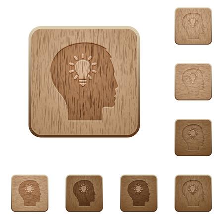 lumen: Set of carved wooden idea in 8 variations. Illustration