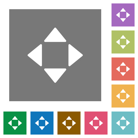 move: Control arrows flat icon set on color square background. Illustration