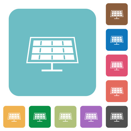 solarenergy: Flat solar panel icons on rounded square color backgrounds.