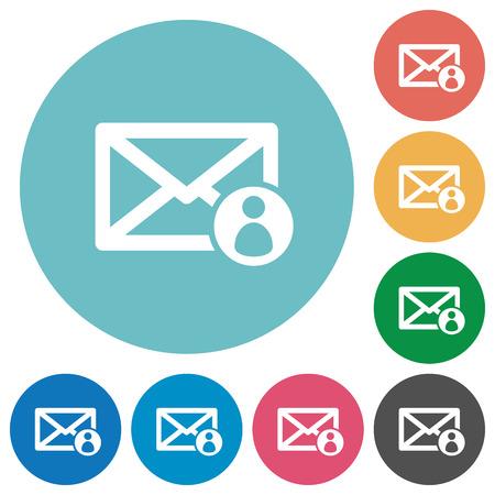 sender: Flat mail sender icon set on round color background.