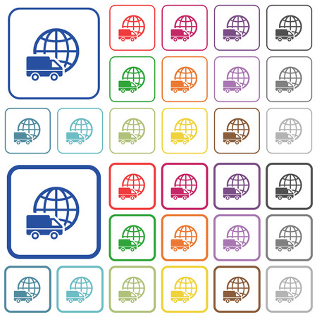 camion: Set of international transport flat rounded square framed color icons on white background. Thin and thick versions included.