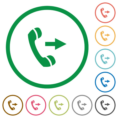 outgoing: Set of outgoing call color round outlined flat icons on white background Illustration