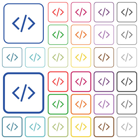 asp: Set of programming code flat rounded square framed color icons on white background. Thin and thick versions included.