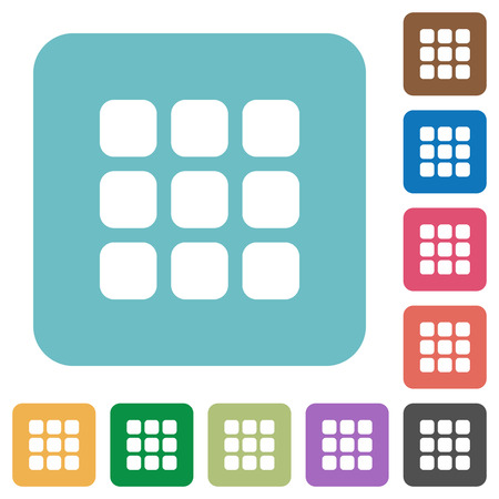 thumbnail: Flat small thumbnail view icons on rounded square color backgrounds. Illustration