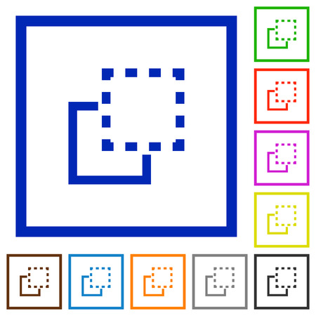 bring: Set of color square framed bring to front flat icons