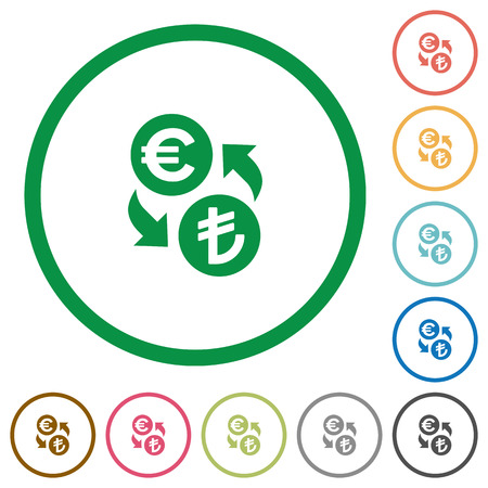 lira: Euro Lira exchange flat color icons in round outlines