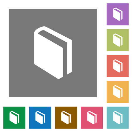 lexicon: Flat book icons on simple color square background.