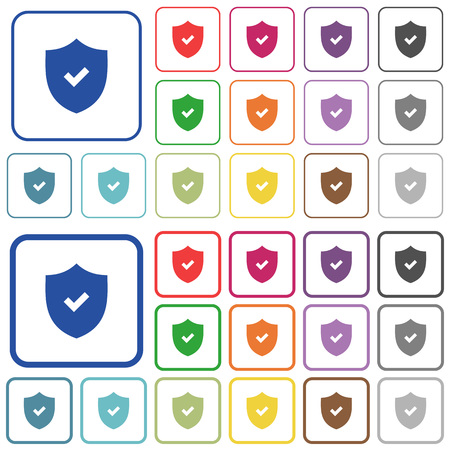 framed: Set of active security flat rounded square framed color icons on white background. Thin and thick versions included.