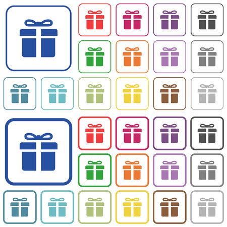 largesse: Set of gift box flat rounded square framed color icons on white background. Thin and thick versions included.