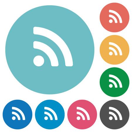 attenuation: Flat radio signal icon set on round color background.