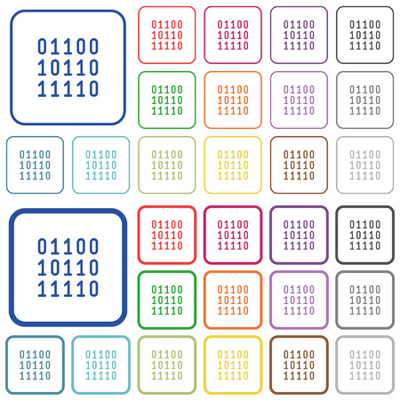 computer data: Binary code color icons in flat rounded square frames. Thin and thick versions included.