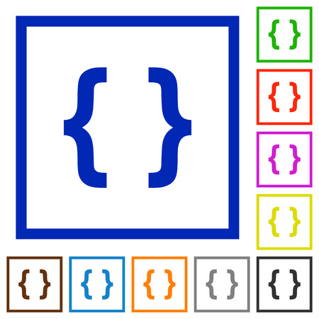 programming code: Programming code flat color icons in square frames