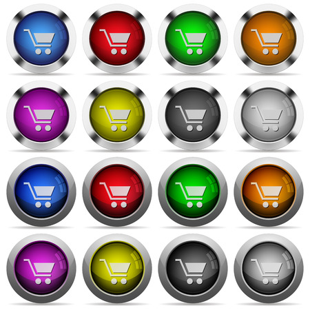 naught: Empty cart color glass buttons in metal frames