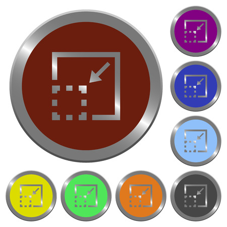 Minimize element icons in color glossy coin-like buttons
