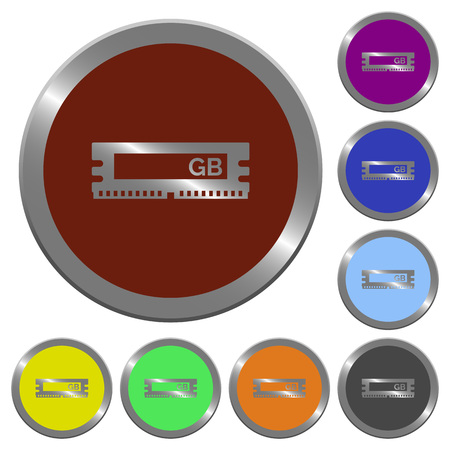 kilobyte: RAM module icons in color glossy coin-like buttons Illustration