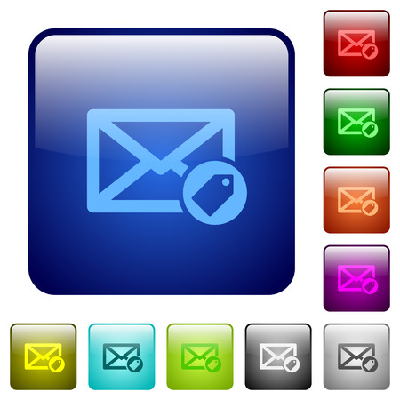 tagging: Tagging mail color glass rounded square button set Illustration