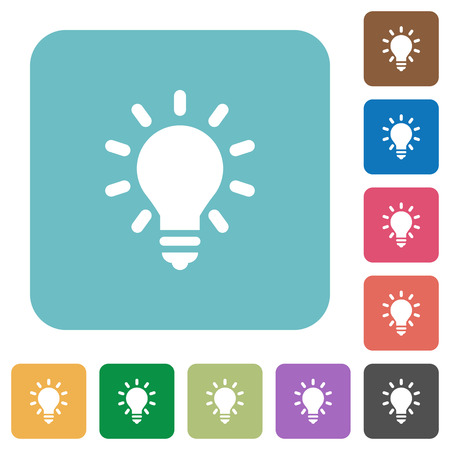 lighting bulb: Lighting bulb flat icons on color rounded square backgrounds