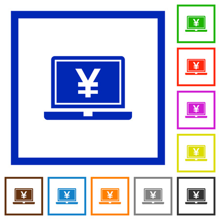yen sign: Laptop with yen sign flat color icons in square frames Illustration