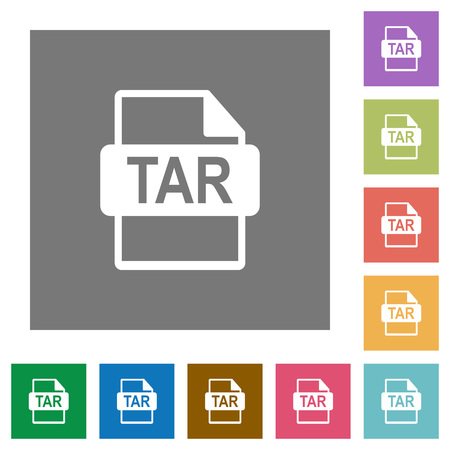 tar: TAR file format flat icons on simple color square background.