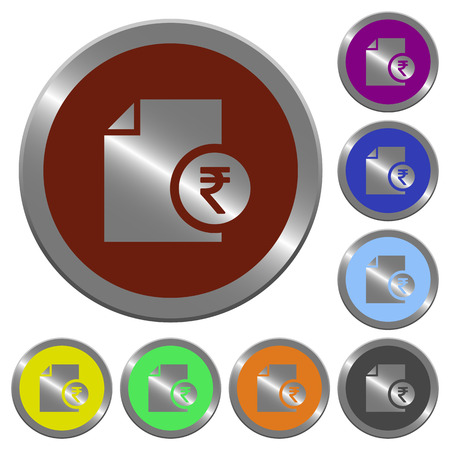 Indian Rupee report icons in color glossy coin-like buttons