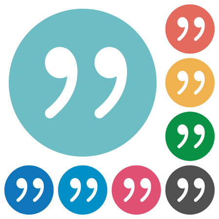 Quotation mark flat white icons on round color background.