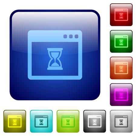 wait: Application wait color glass rounded square button set Illustration
