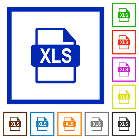 XLS file format flat color icons in square frames