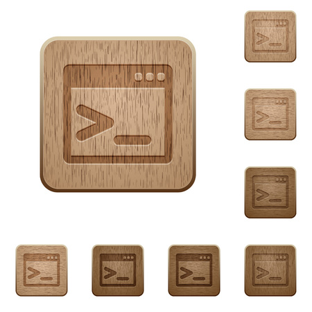 command: Command prompt icons in carved wooden button styles
