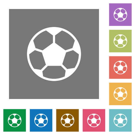 dexterity: Soccer ball flat icons on simple color square background.