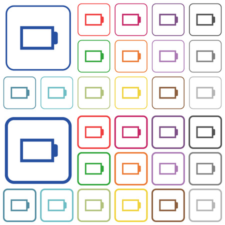 Empty battery color icons in flat rounded square frames. Thin and thick versions included.