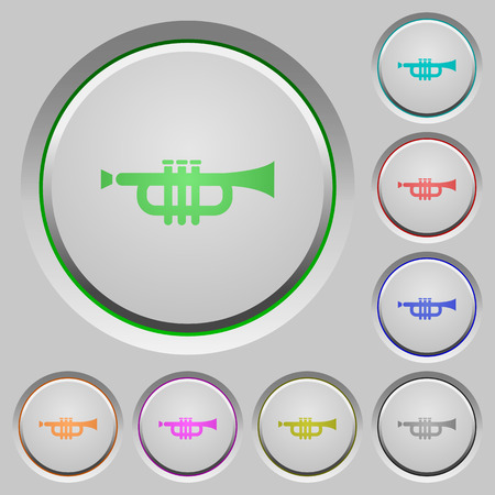 aerophone: Trumpet color icons on sunk push buttons