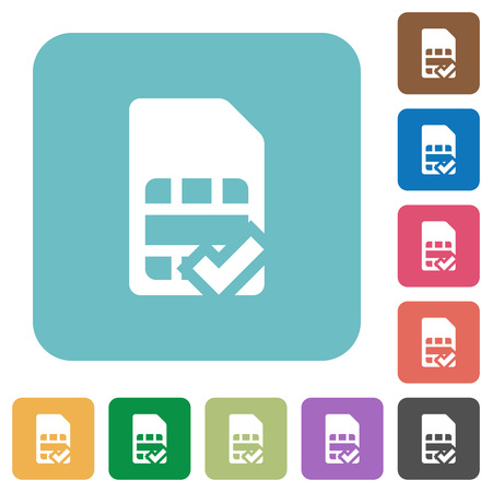 subscriber: SIM card accepted white flat icons on color rounded square backgrounds Illustration