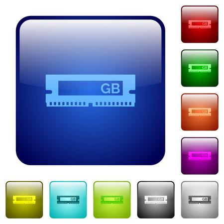 kilobyte: RAM module color glass rounded square button set