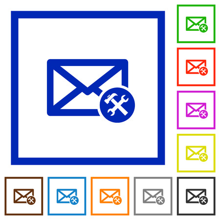 preferences: Mail preferences flat color icons in square frames