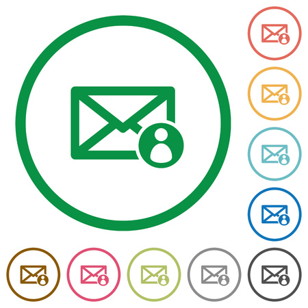 sender: Mail sender flat color icons in round outlines