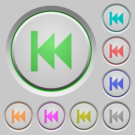 Media fast backward color icons on sunk push buttons Illustration