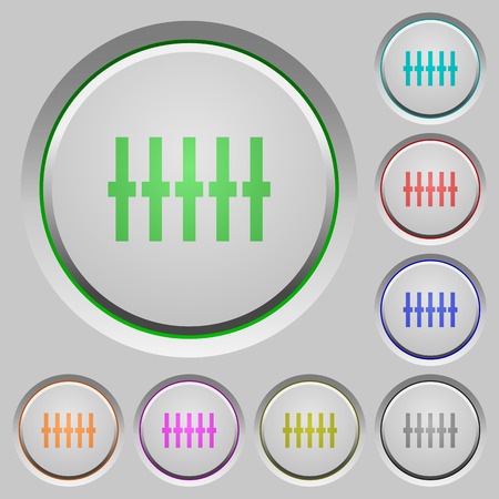 equalizer sliders: Graphical equalizer color icons on sunk push buttons