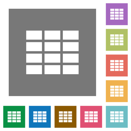 formatting: Spreadsheet flat icons on simple color square background.