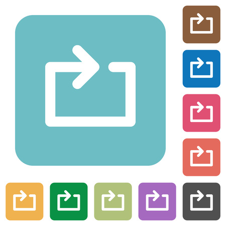 tracklist: Media loop white flat icons on color rounded square backgrounds