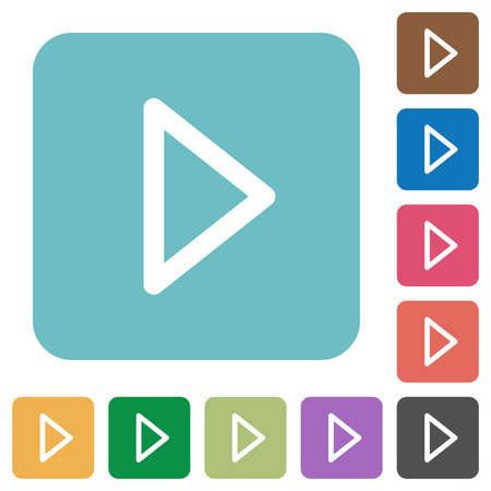 tracklist: Media play white flat icons on color rounded square backgrounds Illustration