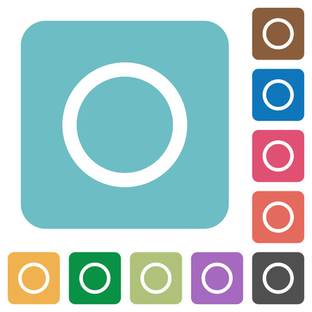 tracklist: Media record white flat icons on color rounded square backgrounds Illustration