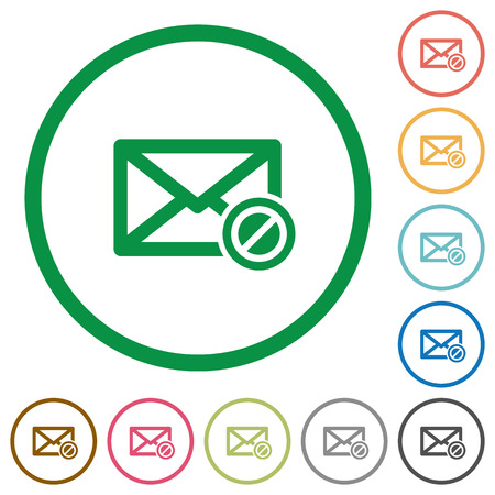 unsolicited: Blocked mail flat color icons in round outlines Illustration