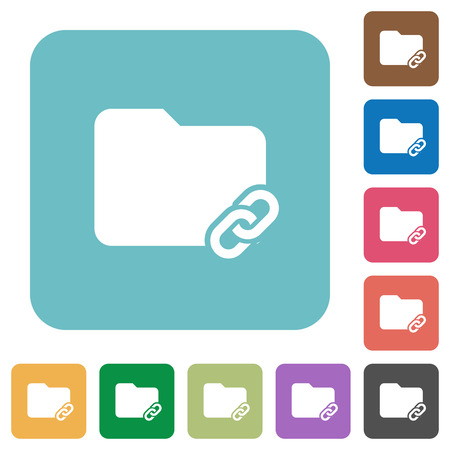 Folder link white flat icons on color rounded square backgrounds