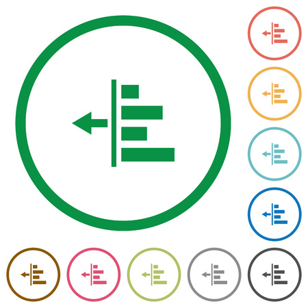 indent: Decrease left indent flat color icons in round outlines Illustration
