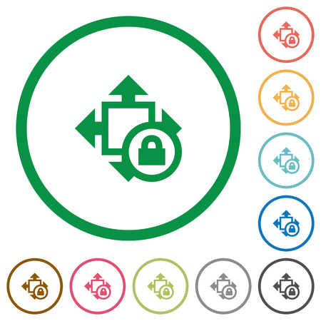 unaccessible: Size lock flat color icons in round outlines