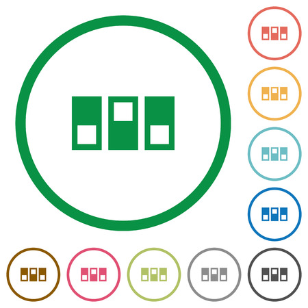 Switchboard flat color icons in round outlines