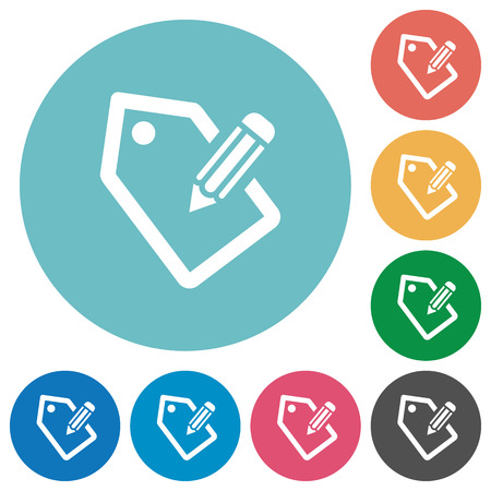 tagging: Tagging white flat icons on color rounded square backgrounds Illustration