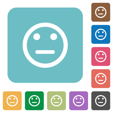 neutral: Neutral emoticon white flat icons on color rounded square backgrounds