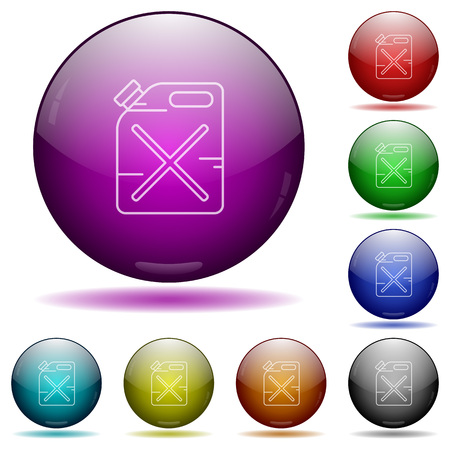 gas can: Gas can color glass sphere buttons with sadows. Illustration