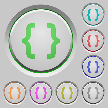 compiler: Programming code color icons on sunk push buttons